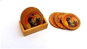 Antique Design Gemstone Wood Tea Coaster Set (Brown)