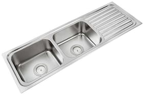 Anupam Stainless Steel Kitchen Sink 305 (1372 x 460 x 200 mm / 54 x 18 x 8 inch) double Square Bowl with Drain Board 304 Grade, Satin/Matt Finish