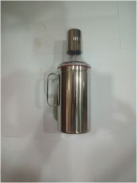 Apeiron Stainless Steel Oil Dispenser 1000ml with Handle Set of 1 Piece Silver