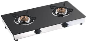 Apex 2 Burners Stainless Steel With Glass Top Gas Stove - Black