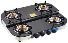 Apex 4 Burners Stainless Steel With Glass Top Gas Stove - Black