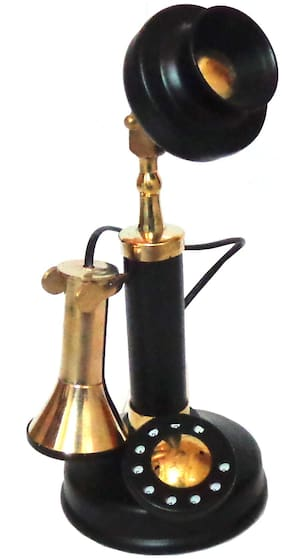 APS Craft Brass & Iron Mini. Nonworking Telephone in Black Finish