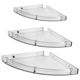 aqua fit corner shleves white set of 3 - Bathroom Accessories India