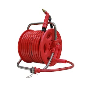 AquaHose Garden Water Pipe Hose Reel - Red  30 mtr (100 feet) Folding Handle - Revolving Type with ISI Marked Hose Pipe