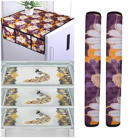 Aradent Set of 6 pcs Combo of 1 Fridge Top Cover with 6 Utility Pockets;2 Fridge Handle Cover and 3 pcs Multipurpose Fridge Mats