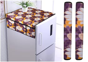 Aradent Set of 3 pcs Combo of Fridge Top Cover with 6 Utility Pockets and Fridge Handle Cover