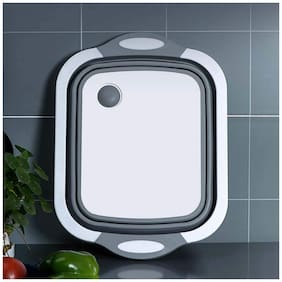 Aramedos Multipurpose 3-In-1 Collapsible Cutting Board With Pop-Up Dish Hub Folding Chopping Board For Kitchen