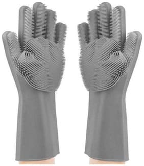 Aramedos Silicon Non-Slip Hand Gloves  for Kitchen,Utensils, Bath and pet Hair Care - Reusable Heat Resistance and Water Proof