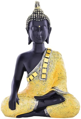 Archies Buddha Idol In Bhumi Sparsha Mudra Aesthetic Decors With Golden Mirror Black And Gold Polyresin Decor (15X10Cm.)