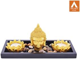 Archies Buddha Head Statue Set With Rectangular Wooden Plate (23.5X14.5Cm.);Pebble Stones;2 Lotus Mould Diya;Golden Polyresin Decor;Set Of 5