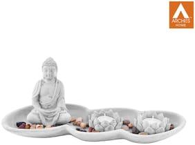 Archies Buddha Statue Set-Stone Slab Plate Holder;(34X14Cm.);Pebbles Stones;2 Lotus Mould Diya For Pooja;Stonegrey Polyresin;Set Of 5