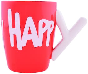 archies Cup For Coffee;Exotic Tea Gift Set Or Kitchen Decor Item For Home Needs;Happy Decoration Printed Ceramic Red Mug (10.5X13.7) 1PC