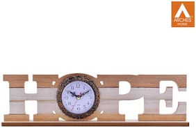 Archies Wood Analog Table clock ( Set of 1 )