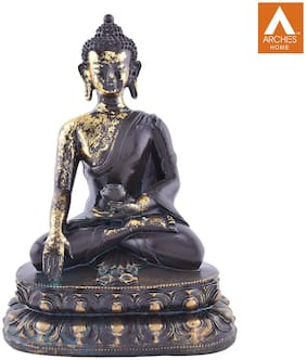 Archies Medicine Buddha Statue To Heal Sufferings With Lotus Base Black And Golden Polyresin Decor (24X20Cm.)