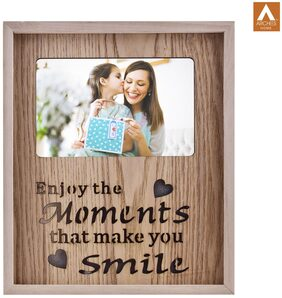 Archies Photo Frame With Led Light For Wall;Home Decor Item;Wooden Material;Natural Wooden Color