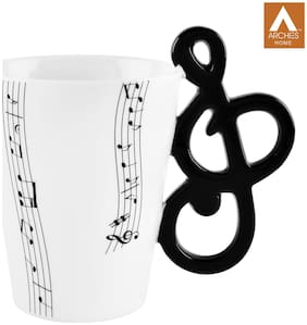 archies Quirky Coffee Mug for Home Decor;Musical Handle With On White Ceramic Mug- (11X11) -1PC
