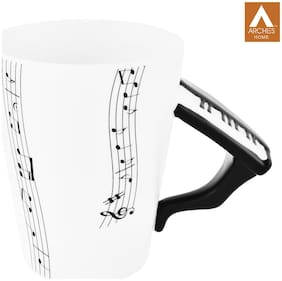 archies Quirky Coffee Mug for Home Decor;Musical Themed White Ceramic Mug- (11X11) -1PC