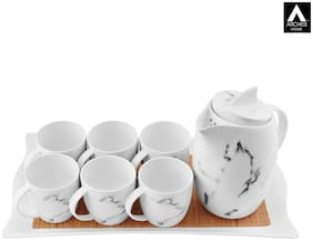 archies Tea Set For Home, Picnic And Party With 6 Cups, 6 Saucers, A Teapot Kettle And A Serving Tray, Marble Look SetOf 14