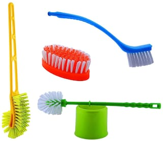 Arisers Home Cleaning 4 Pcs Combo Set With Toilet Holder Brush, Toilet Brush, Cleaning Brush (Color may vary from image)