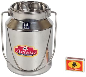 Aristo Stainless Steel Milk / Oil / Ghee Storage Container, 1.5 Litre, Silver