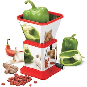 Arni Stainless Steel Chilly Cutter Onion Chopper & Vegetable Chopper Quick Cutter with Stainless Steel Rotating Blade Vegetable Salad Chopper