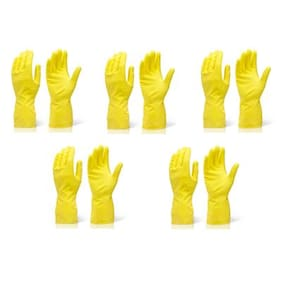 Arsa Medicare Waterproof Cleaning Household Gloves for Kitchen, Dish Washing, Laundry, Perfect For Garden and Household Tasks, Lightweight and Durable,Size: Medium, COLOR: Yellow, FIVE PairS