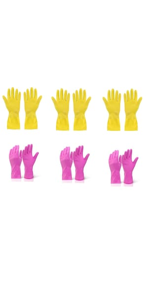 Arsa Medicare Waterproof Cleaning Household Gloves for Kitchen, Dish Washing, Laundry, Perfect For Garden and Household Tasks, Lightweight and Durable,Size: Medium, COLOR: Pink & Yellow, SIX Pair