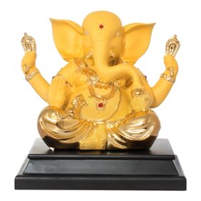 ART N HUB 24K Gold Plated with Wooden Base God Shri Ganesh Statue lord Ganesha Idol Bhagwan Ganpati Decorative Spiritual Puja Showpiece - Religious Gift & Murti for Mandir / Home Temple