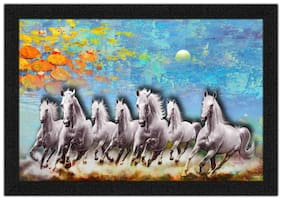 Artamori 7 White Horse Running Painting With Synthetic Frame