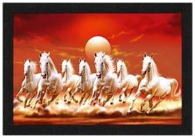 Artamori Beautiful Seven Horses Running Vastu Painting With Synthetic Frame