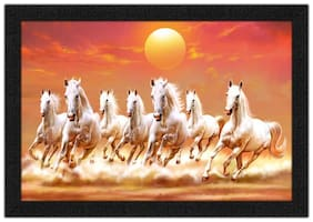 Artamori Elegent Seven Horse Painting With Synthetic Frame