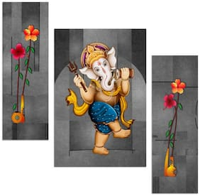 Artamori Ganesha Playing Damru 3 Piece Mdf Painting