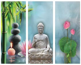 Artamori Lord Buddha Mdf Paintings -Set Of 3