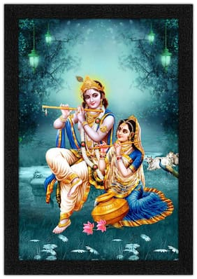Artamori Radha & Krishna Playing Flute Painting With Synthetic Frame