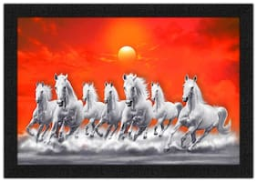 Artamori Seven Horse Running At Sunrise Painting With Synthetic Frame