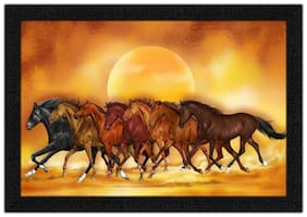 Artamori Seven Horses Running At Sunset Painting With Synthetic Frame