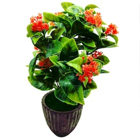 Artificial Plant With Pot by Random | With Large Green Leaves and Orange Flowers | Earthy Brown Ceramic Pot With Real Looking Green Grass