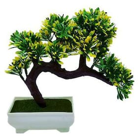 Artificial Plant With Pot by Random | Bent Bonsai Tree With Green and Yellow Leaves | Melamine White Pot With Real Looking Green Grass