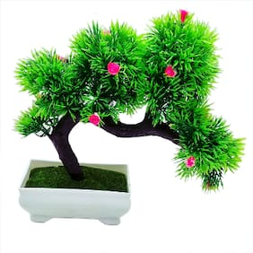 Artificial Plant With Pot by Random | Bent Bonsai Tree With Thin Green Leaves and Pink Flowers | Melamine White Pot With Real Looking Green Grass