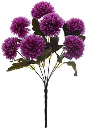 Artificial purple  Ball Flower with 7 Branches