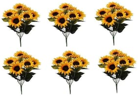 Artificial Sun Flower Stick (Set of 6 PCS)