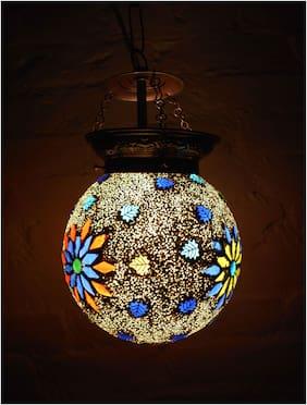 Artistic Mosaic Lamp Round Shape Hanging Lamp Shade Star Pattern Decorative Ceiling Lamp
