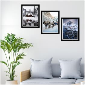 Art Vibes Wood Printed White Framed poster ( Set of 3 )