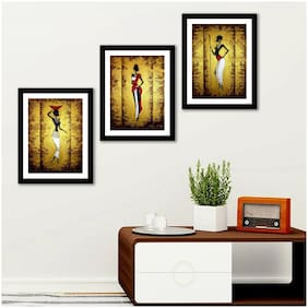 Art Vibes Wood Printed Yellow Framed poster ( Set of 3 )