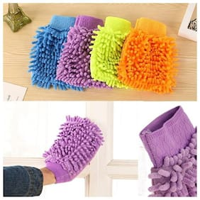 Aryshaa Double Sided Microfiber Hand Gloves Car Window Washing Kitchen Dust Cleaning Glove (Pack of 1Pc) Assorted Colors