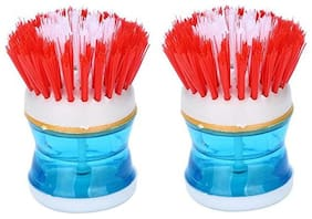 Aryshaa Cleaning Brush with Liquid Soap Dispenser Assorted Colours (Pack of 2)