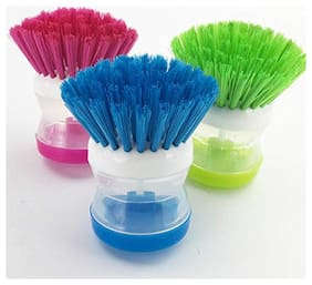Aryshaa Cleaning Brush with Soap Dispenser for Kitchen, Sink, Dish Washer Assorted Colours (Pack of 3)