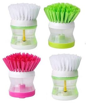 Aryshaa Cleaning Brush with Soap Dispenser For Kitchen, Sink, Dish Washer Assorted Colours (Pack of 4)