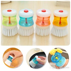 Aryshaa Cleaning Brush with Liquid Soap Dispenser (Pack of 4Pcs) Assorted Colors