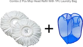 Aryshaa Crazy Deal Combo of 2 Pcs Mop Head Refill with 1 Pc Laundry Bag (Assorted Colors)
